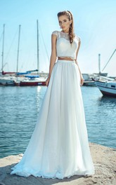Two-piece Illusion Jewel Neck Cap-sleeve Floor Length Wedding Dress