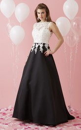 black-and-white A-line Prom Dress With Appliques And Keyhole