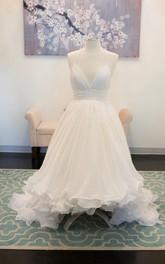 Chiffon Layers Sweetheart Spaghetti-Strapped Lace Dress