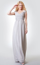 A-Line Key-Hole Chiffon Ruched Criss-Crossed Floor-Length Gown