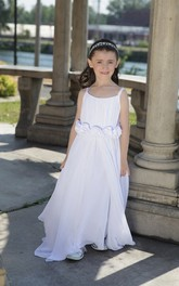 Floor-Length Floral Waist A-Line-Slit Scoop-Neckline Flower Girl Dress