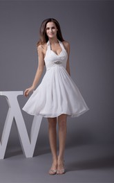 A-Line Ruched Rhinestones Sleeveless Short-Midi Gown