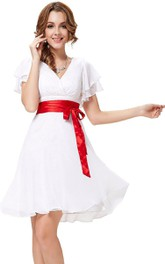 adorable Poet-sleeve A-line short Chiffon Dress With Satin bow