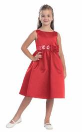 Sequined Ribbon Layered Short-Midi Flower Girl Dress