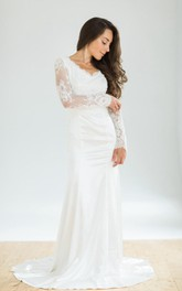 Wedding Vintage-Inspire White Lace-Sleeves Dress