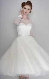 Vintage Illusion Long Sleeve Bateau Sweetheart Tulle Tea Length Wedding Dress