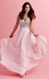 A-Line Jeweled Sequined Long Sweetheart Sleeveless Strapless Jersey Dress