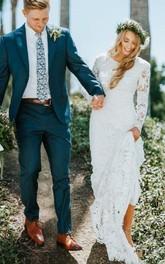 Jewel Lace Long Sleeve Floor-length Court Train Sheath Wedding Dress