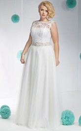 Bateau Sleeveless Lace Tulle plus size wedding dress With Embellished Waist