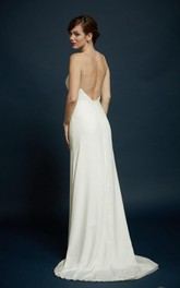 Spaghetti-strap Sheath Backless Wedding Dress With Sweep Train