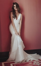 Deep V-neck Sexy Satin Wedding Dress With Tiers And Deep V-back