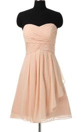 Sweetheart Criss cross Ruched Chiffon short Bridesmaid Dress