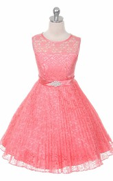 Scoop-neck Lace A-line short flower girl Dress