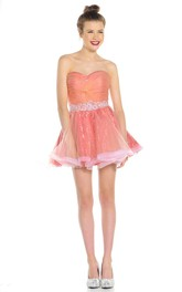 A Line Sweetheart Ruched Sleeveless Short Mini Sequins&Tulle Prom Dress With Waist Jewellery