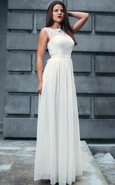 Bateau Sleeveless Floor-length Pleated Dress With Lace top And bow