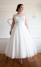 Jewel-Neckline Chiffon 3-4-Length A-Line Pleated Cap Dress