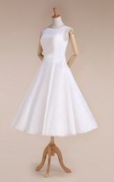 Tea-Length Sleeveless Jewel Bridal Dress