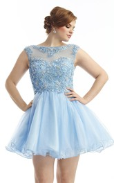 Scoop-neck short A-line Prom Dress With Beading And Low-V Back