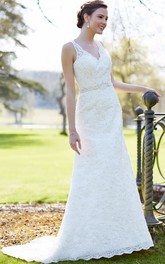 V-neck Sleeveless Lace Wedding Dress With Appliques And Embellished Waist