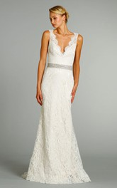 Floor-Length Crystal Embroidered Belt V-Neckline Stunning Lace Gown