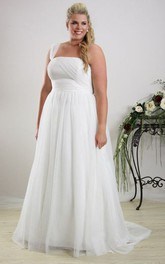 One-shoulder Chiffon A-line plus size wedding dress With Ruching