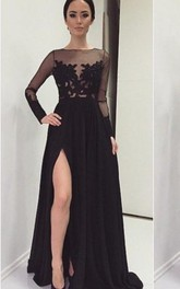 Black Front-Slit Long Sleeve Illusion Brush Train Lace Sassy Dress