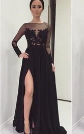 Black Front-Slit Long Sleeve Illusion Brush Train Lace Sassy Dress
