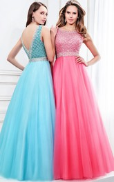 Bateau Sleeveless Tulle Prom Dress With jeweled Deep-V Back