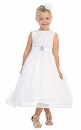 Tulle Broach Natural 3-4-Length Flower Girl Dress