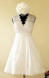 V-Neckline Illusion Button Taffeta Short A-Line Satin Dress
