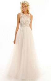 Scoop-neck Sleeveless A-line Tulle Wedding Dress With Illusion Appliqued top