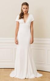 Bohemian Scalloped Sheath Chiffon Lace Sweep Train Open Back Wedding Dress