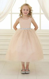 Satin Tulle Beaded Flower Girl Dress