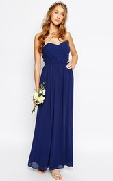 Ankle-Length Sweetheart Sleeveless Ruched Chiffon Bridesmaid Dress