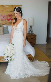 V-neck Lace  Sleeveless Wedding Dress
