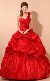 Flamboyant Floral Pick-Up Ruffled A-Line Sweetheart Ball Gown