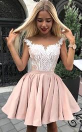 Straps Sweetheart Taffeta Sleeveless Short A Line Homecoming Dress with Pleats