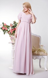 Long V-Neckline Short-Sleeve Empire Bridesmaid Dress