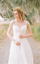 Sweetheart Chiffon Cap Short Sleeve Wedding Dress