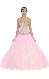 Sweetheart Jeweled Strapless Sleeveless Satin Tulle Lace-Up Ball Gown