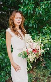 Sheath Beaded Cap-Sleeve Boat-Neckline Wedding Dress
