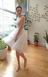 Bridal Heart Open Back Organza 3-4-Length Dress