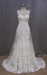 A-Line High-Waist Bridal Sleeveless Long Lace Dress