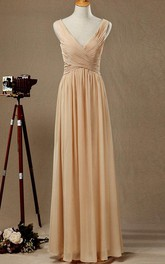 Chiffon Low-V Back V-Neckline Long Satin Dress