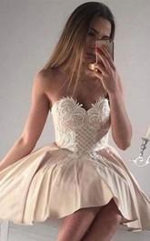 Strapless Sweetheart Satin Sleeveless Short A Line Homecoming Dress