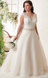 Plunged Cap-sleeve A-line plus size wedding dress With Embellished Waist And Keyhole