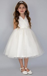 Tiered Tea-Length V-Neckline Satin Flower Girl Dress