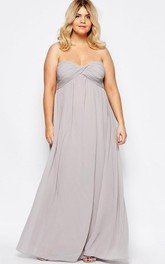 A-Line Floor-Length Sweetheart Ruched Empire Sleeveless Chiffon Bridesmaid Dress