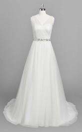 Ruffled Appliqued Bridal A-Line Vintage Chiffon Dress