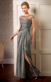 Scoop-neck Beaded Front-split Dress With Beading And Illusion